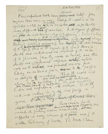 FORSTER, E.M. Autograph Manuscript, unsigned, working draft of a script for an episode of his Some Books radio program for BBC,