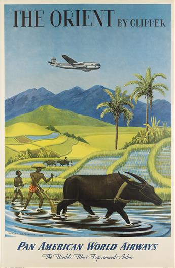 CHARLES BASKERVILLE (1896-1994). THE ORIENT BY CLIPPER / PAN AMERICAN WORLD AIRWAYS. 1950. 41x27 inches, 106x70 cm.