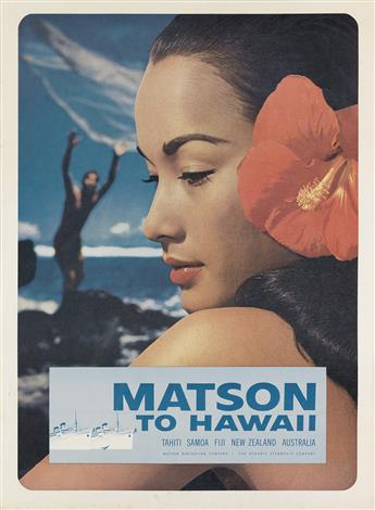 DESIGNER UNKNOWN. MATSON TO HAWAII. Circa 1960s. 28x21 inches, 72x53 cm.