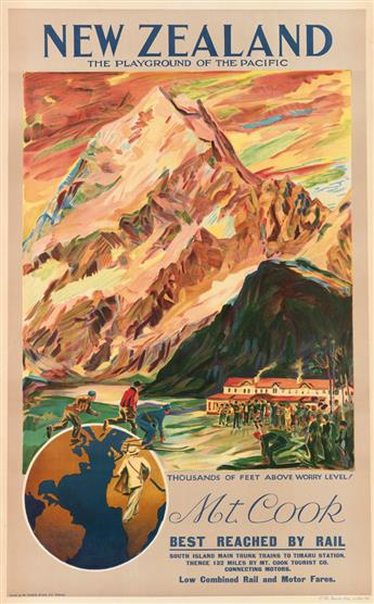 DESIGNER UNKNOWN. NEW ZEALAND / MT. COOK. 1932. 40x25 inches, 101x63 cm. C.M. Banks Ltd., Wellington.