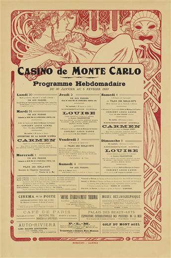 ALPHONSE MUCHA (1860-1939). CASINO DE MONTE CARLO. 1922. 30x20 inches, 77x51 cm. Robaudy, Cannes.