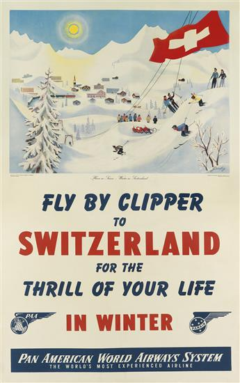 RICHARD GERBIG (DATES UNKNOWN). FLY BY CLIPPER TO SWITZERLAND FOR THE THRILL OF YOUR LIFE IN THE WINTER. 1945. 40x25 inches, 102x63 cm.