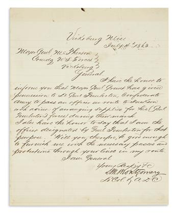 (CIVIL WAR--CONFEDERATE.) Montgomery, Louis M. Letter on the day of the surrender of Vicksburg regarding the paroled Confederates.