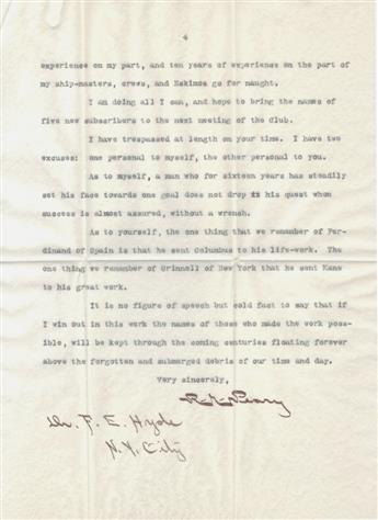 PEARY, ROBERT EDWIN. Typed Letter Signed, R.E. Peary, to Dr. Frederick Erastus Hyde,