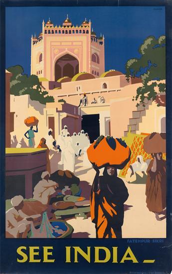 LEONARD CUSDEN (1898-1979). SEE INDIA / FATEHPUR SIKRI. Circa 1930. 40x25 inches, 101x64 cm. British India Press, Bombay.