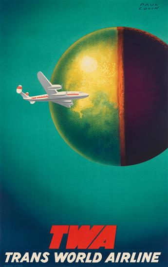 PAUL COLIN (1892-1986). TWA / TRANS WORLD AIRLINE. Circa 1950. 39x24 inches, 99x62 cm. Bedos & Cie, Paris.
