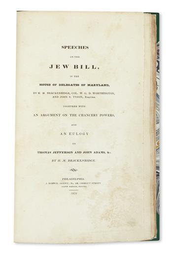 (JUDAICA.) Speeches on the Jew Bill.