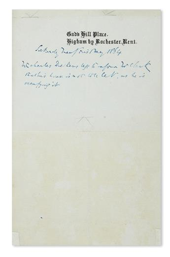 DICKENS, CHARLES. Autograph Note Signed, in the third person within the text: