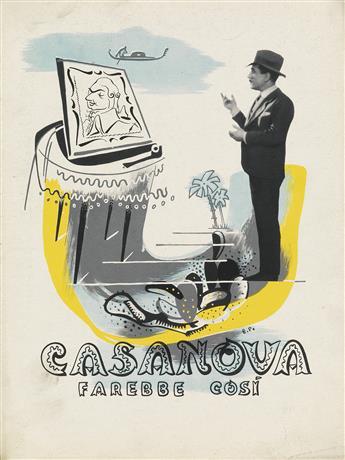 ENRICO PRAMPOLINI (1894-1956). CASANOVA / FAREBBE COSI. Promotional film book cover. 1942. 12x9 inches, 31x23 cm.