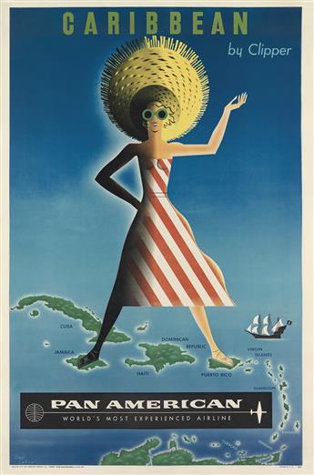 JEAN CARLU (1900-1997). CARIBBEAN BY CLIPPER / PAN AMERICAN. 1954. 42x27 inches, 106x70 cm.