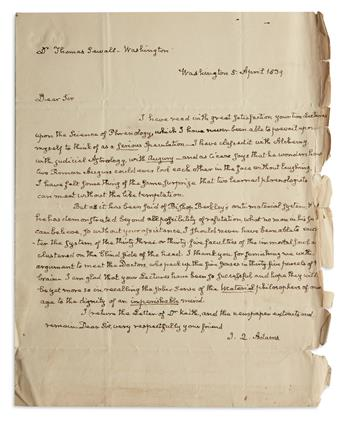 GLIMPSE OF HIS INTEREST IN PHILOSOPHY JOHN QUINCY ADAMS. Autograph Letter Signed, J.Q. Adams, as Representa...
