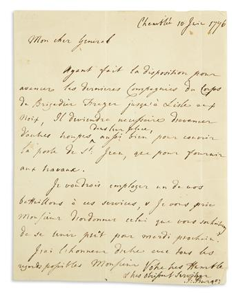 (AMERICAN REVOLUTION--1776.) Burgoyne, John. Letter directing the deployment of reinforcements after the Battle of Trois-Rivières.