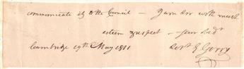 GERRY, ELBRIDGE. Clipped portion of an Autograph Letter Signed, E Gerry, as Governor of Massachusetts,