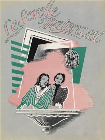 ENRICO PRAMPOLINI (1894-1956). LE SORELLE MATERASSI. Promotional film book cover. 1944. 12x9 inches, 31x23 cm.
