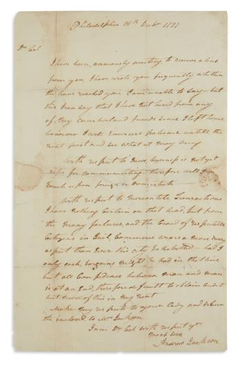 WRITTEN DURING BRIEF SERVICE AS U.S. SENATOR ANDREW JACKSON. Autograph Letter Signed, as Senator, to...