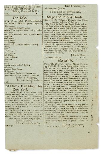 (SLAVERY AND ABOLITION.) Runaway advertisement for Marcus, one of the House Servants at Mount Vernon,