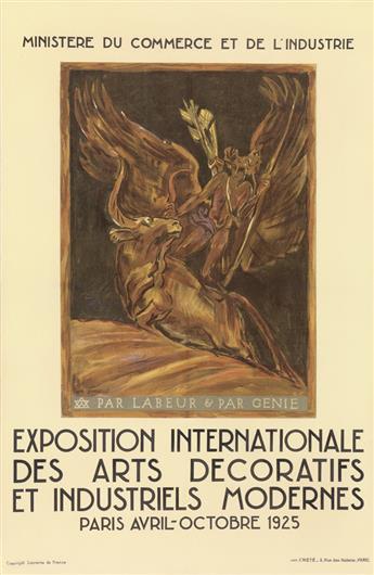 ÉMILE-ANTOINE BOURDELLE (1861-1929). EXPOSITION INTERNATIONALE DES ARTS DECORATIFS ET INDUSTRIELS MODERNES. 1925. 24x15 inches, 61x39 c