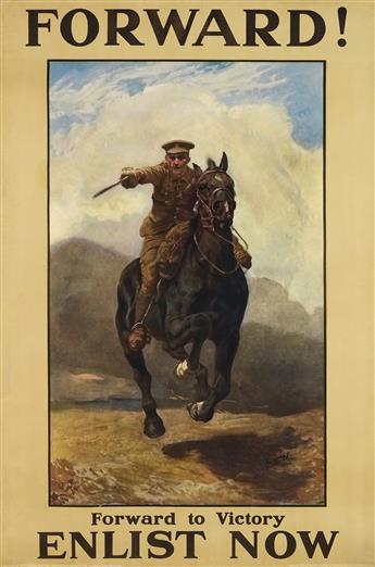 LUCY KEMP-WELCH (1869-1958). FORWARD! / ENLIST NOW. 1915. 59x38 inches, 150x98 cm. David Allen & Sons, Harrow.