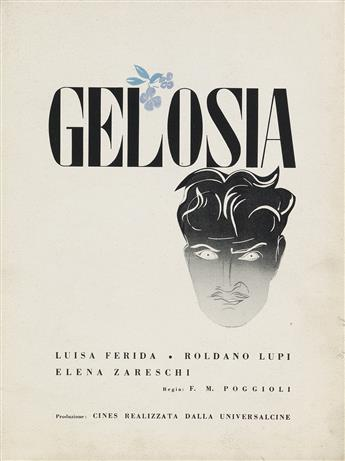 MARCELLO NIZZOLI (1887-1969). GELOSIA. Promotional film book cover. 1942. 12x9 inches, 31x23 cm.