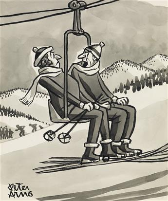 PETER ARNO. (THE NEW YORKER / CARTOON / SKIING) Will you knock it off, Stella! Im not driving this thing!