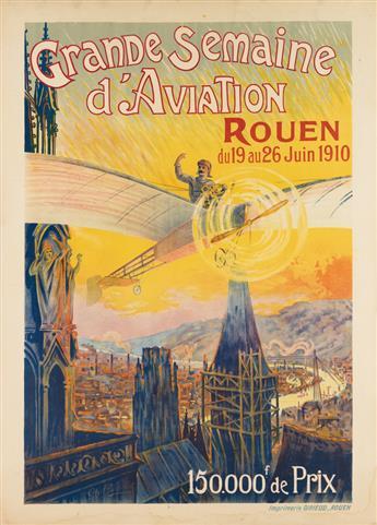 CHARLES RAMBERT (1867-1932). GRANDE SEMAINE DAVIATION / ROUEN. 1910. 50x36 inches, 128x92 cm. Girieud, Rouen.