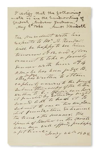 MEETING WITH TREASURY AUDITOR IN ADVANCE OF NULLIFICATION CRISIS ANDREW JACKSON. Autograph Note Signed, in th...