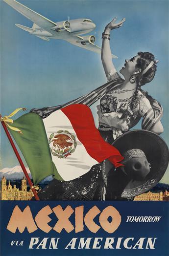 PAUL GEORGE LAWLER (DATES UNKNOWN). MEXICO TOMORROW VIA PAN AMERICAN. Circa 1941. 41x27 inches, 104x60 cm.