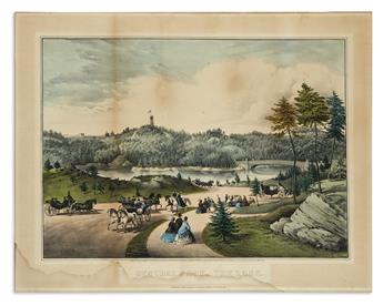 CURRIER & IVES. Central Park, the Lake.