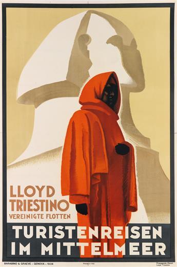 DESIGNER UNKNOWN. LLOYD TRIESTINO / TURISTENREISEN IM MITTELMEER. 1934. 37x25 inches, 95x63 cm. Barabino & Graeve, Genova.