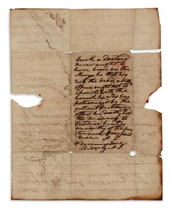 SUCH A DASTARD NEVER OUGHT TO HAVE BEEN IN THE NAVY ANDREW JACKSON. Autograph Endorsement Signed, twice (ea...