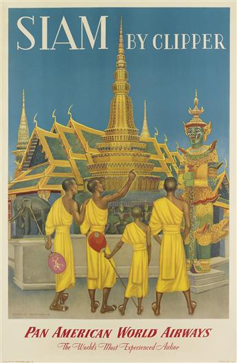 CHARLES BASKERVILLE (1896-1994). SIAM BY CLIPPER / PAN AMERICAN WORLD AIRWAYS. 1950. 42x27 inches, 107x70 cm.