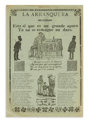 (MEXICO.) Group of satirical songsheets, most illustrated by José Guadalupe Posada.