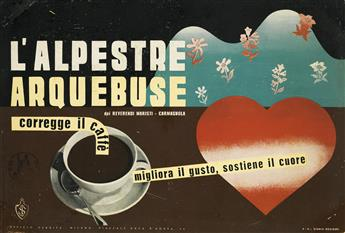 BRUNO MUNARI (1907-1988). LALPESTRE ARQUEBUSE. Windowcard. 1936. 9x13 inches, 23x34 cm. Studio Boggeri, Milan.