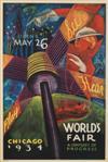 SANDOR (ALEXANDER RAYMOND KATZ, 1895-1974). CHICAGO WORLD'S FAIR. 1934. 39x26 inches, 100x67 cm. Goes Litho.