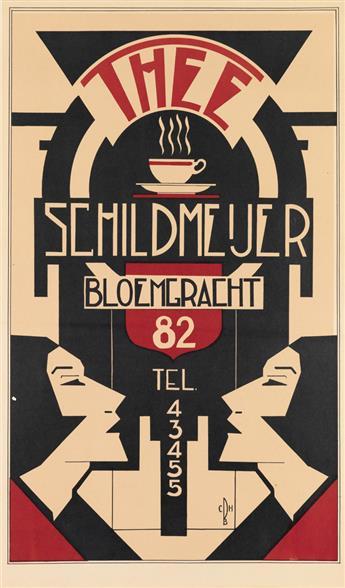 C.B.H. (MONOGRAM UNKNOWN). THEE SCHILDMEIJER BLOEMGRACHT. Circa 1925. 25x15 inches, 64x38 cm.