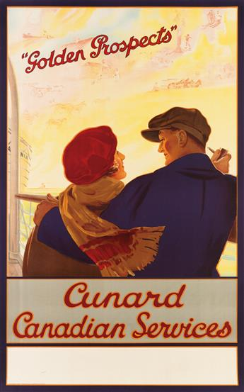 DESIGNER UNKNOWN. CUNARD CANADIAN SERVICES / GOLDEN PROSPECTS. Circa 1925. 39x24 inches, 100x62 cm. British Colour Printing Co., Lond