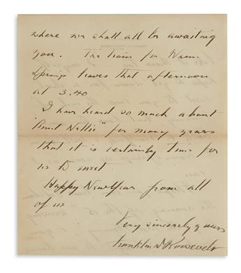 CARING FOR AILING MISSY LE HAND FRANKLIN D. ROOSEVELT. Autograph Letter Signed, to his personal secretarys...