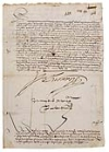 (PERU.) Document Signed by Hurtado de Mendoca, Marques de Canete, as Viceroy of Peru, ordering free blacks to the province of Carabaya.