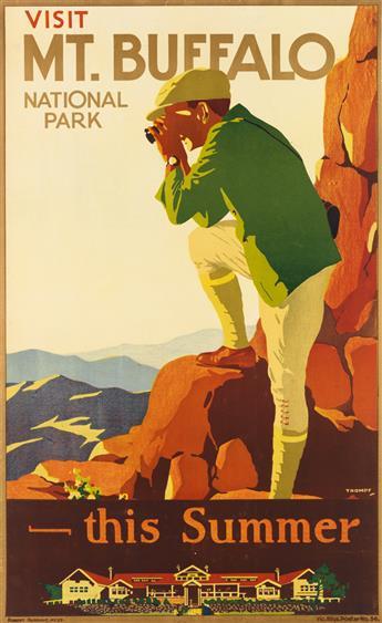PERCIVAL (PERCY) ALBERT TROMPF (1902-1964). VISIT MT. BUFFALO NATIONAL PARK / THIS SUMMER. Circa 1920s. 39x24 inches, 101x62 cm. Robert