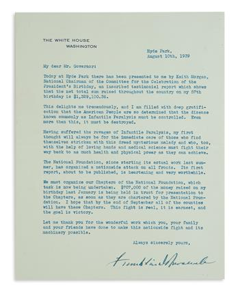 ACKNOWLEDGES HAVING SUFFERED THE RAVAGES OF INFANTILE PARALYSIS FRANKLIN D. ROOSEVELT. Typed Letter Signed,...