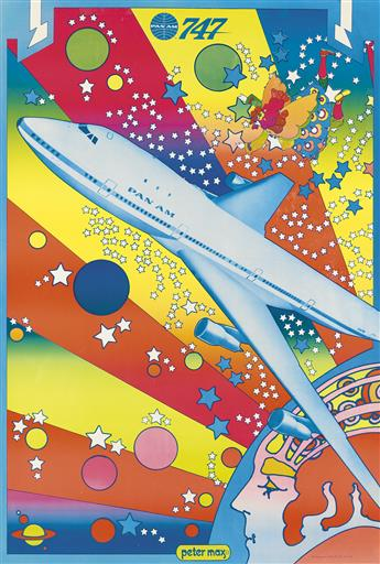 PETER MAX (1937- ). PAN AM 747. 1969. 42x28 inches, 106x71 cm.