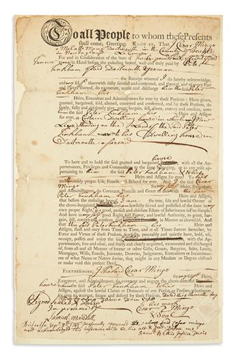 (SLAVERY AND ABOLITION.) Mingo, Cesar. Deed of a house by a Massachusetts malatto man.