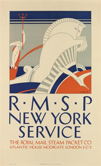 FREDERICK C. HERRICK (1887-1970). RMSP / NEW YORK SERVICE. Circa 1921. 40x24 inches, 101x63 cm. Sanders Phillips & Co., London.