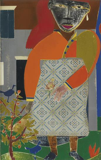 ROMARE BEARDEN (1911 - 1988) Girl in a Garden.