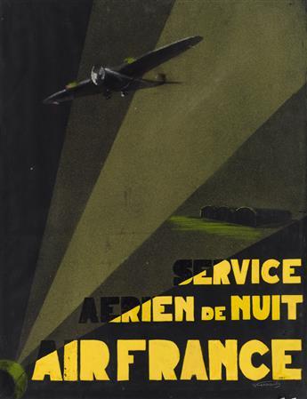 SIGNATURE UNKNOWN. SERVICE AERIEN DE NUIT / AIR FRANCE. 1937. Gouache, crayon & airbrush maquette. 25x19 inches, 64x49 cm.