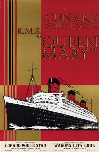 DESIGNER UNKNOWN. CUNARD WHITE STAR / R.M.S. QUEEN MARY. Circa 1936. 33x21 inches, 85x55 cm.
