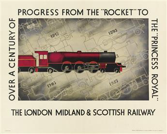 E.H. FAIRHURST (DATES UNKNOWN). OVER A CENTURY OF PROGRESS FROM THE ROCKET TO THE PRINCESS ROYAL. 1933. 29x44 inches, 75x113 cm. S.