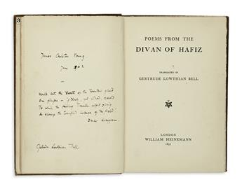 TRAVEL  (BELL, GERTRUDE.)  Poems from the Divan of Hafiz. Translated by Gertrude Lowthian Bell.  1897.  Inscribed and signed by Bell.