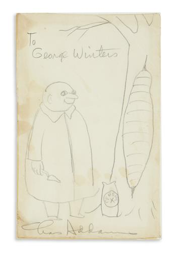 ADDAMS, CHARLES. Graphite drawing, Signed and Inscribed, To George Winters / Chas Addams, in pencil, cartoon showing Uncle Fester