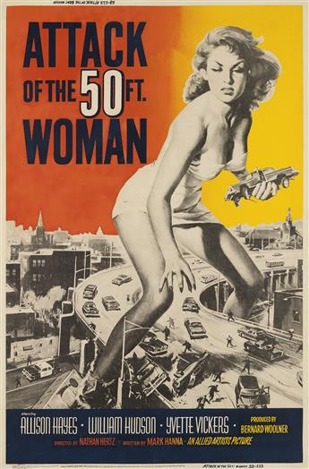 DESIGNER UNKNOWN. ATTACK OF THE 50 FT. WOMAN. 1958. 60x40 inches, 154x101 cm.